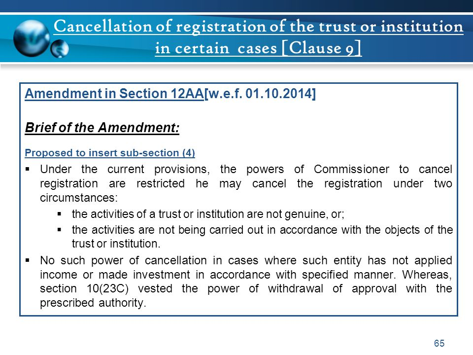 Cancellation of registration of the trust or institution in certain cases [Clause 9]